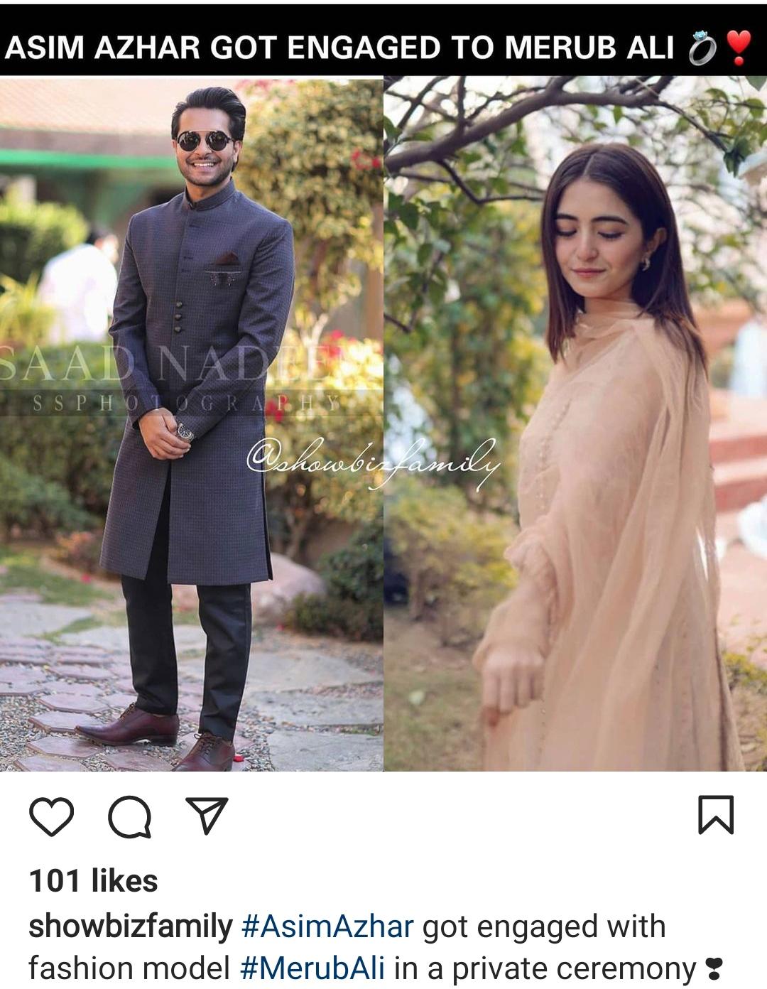 Asim Azhar Engagement with Merub Ali