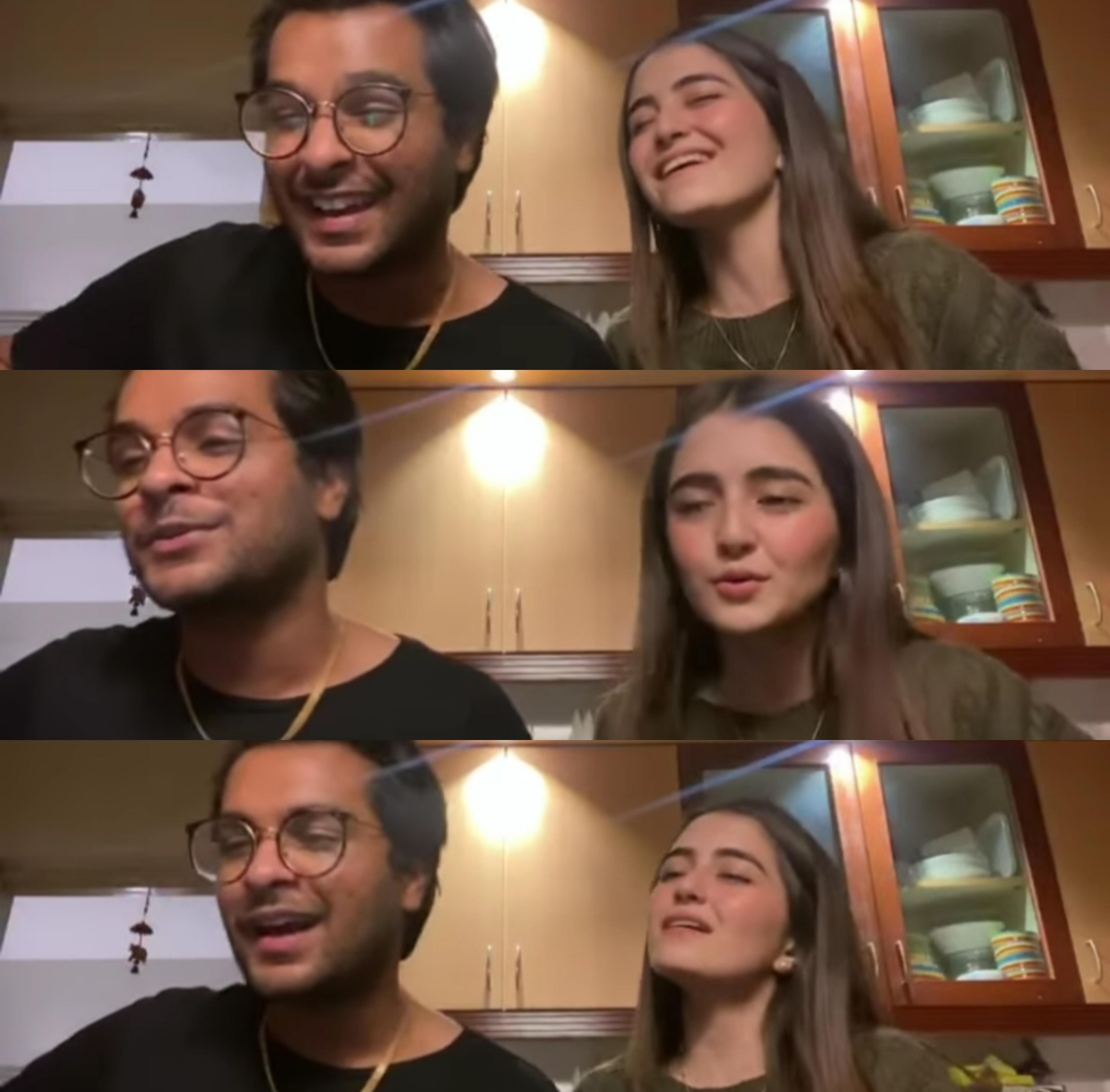 Asim Azhar jamming with Merub Ali before engagement